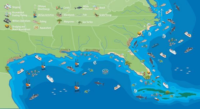 Map of the ocean and coasts network.