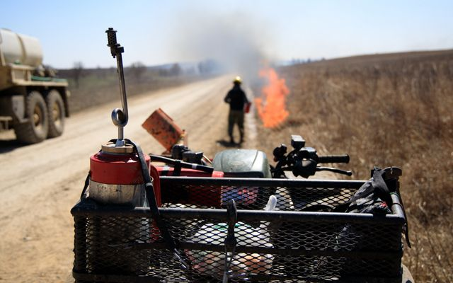 ATV packed with controlled burn equipment.
