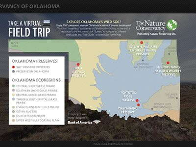 Map of Oklahoma where virtual tours of preserves are available.