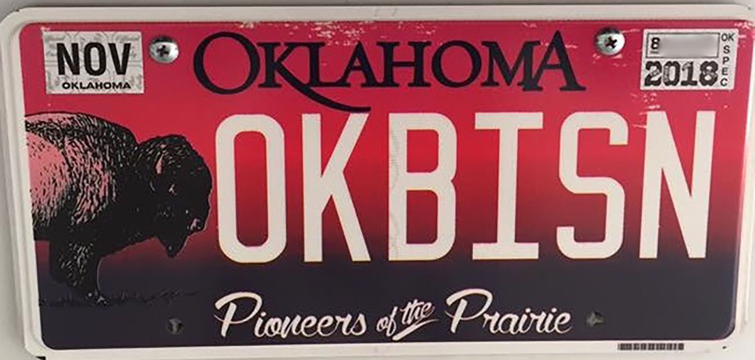 """Custom license plate that reads """"OKBISON"""""""