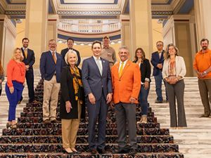 Senator Brenda Stanley, Lt. Governor Matt Pinnell, and Representative John Talley with supporters of Oklahoma Public Lands  at the State Capitol.