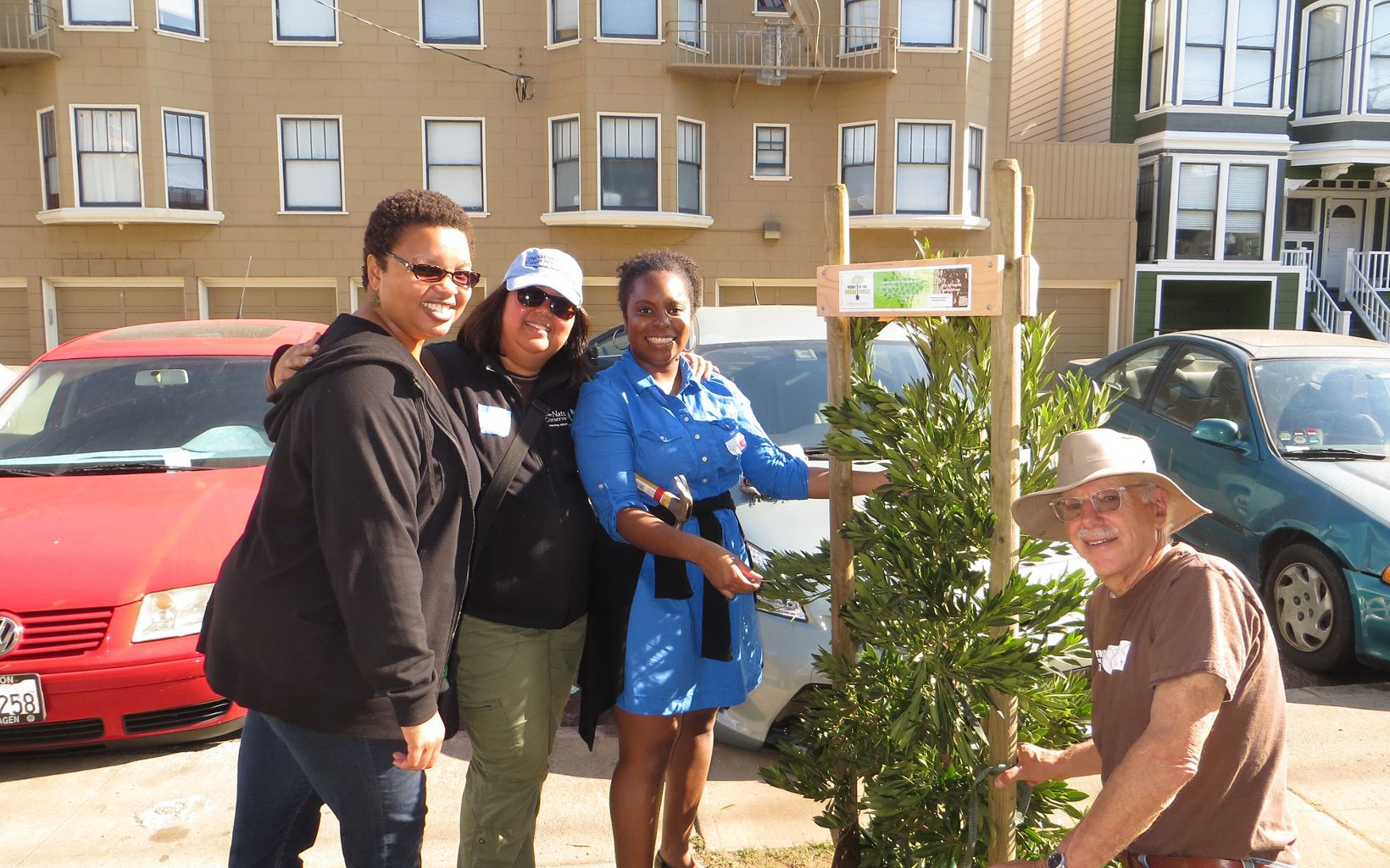Volunteers help plant trees in San Francisco at a 2013 event organized by Odwalla and The Nature Conservancy.