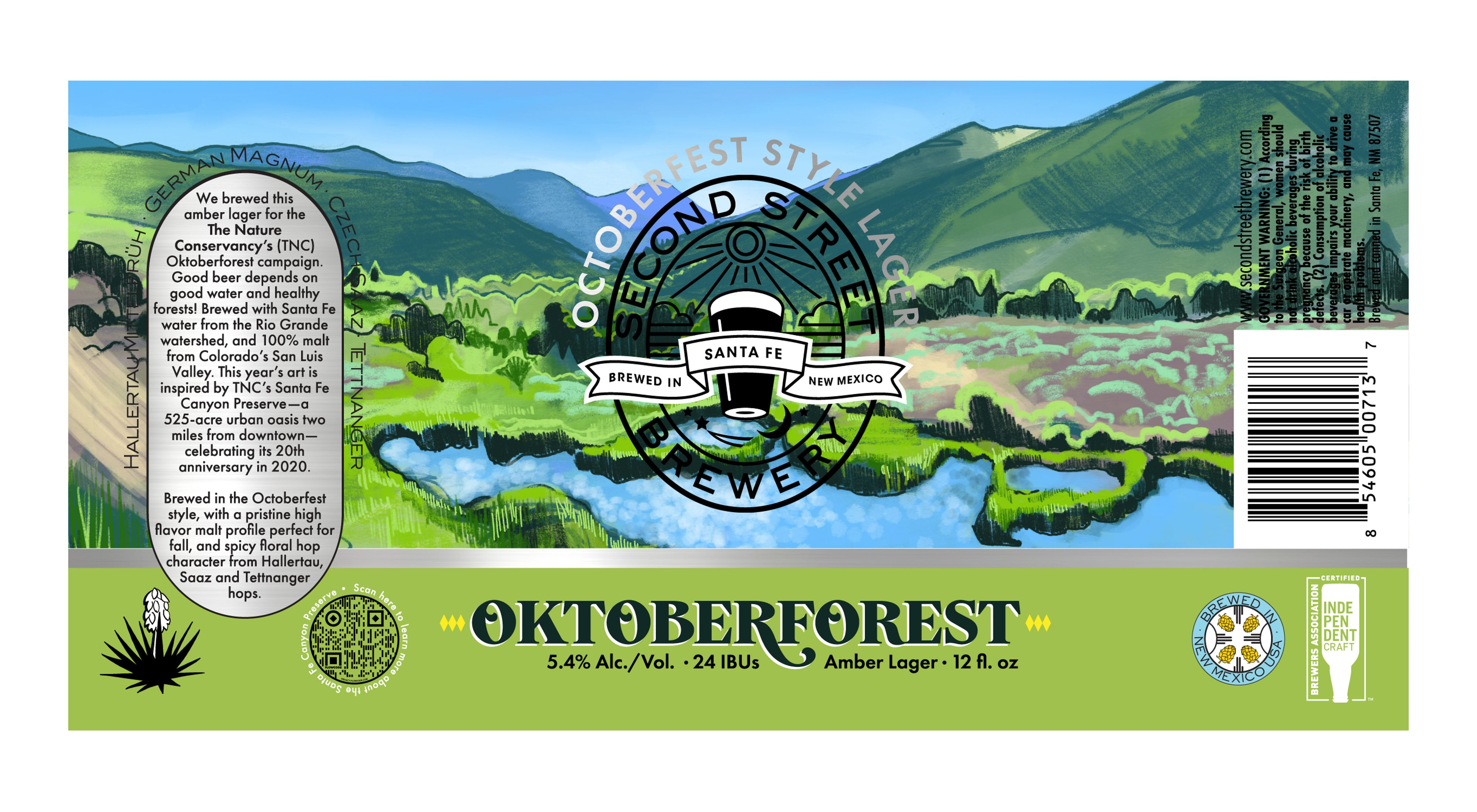 Colorful illustration of waterway surrounded by trees, with mountains in the background and Second Street Brewery logo superimposed.