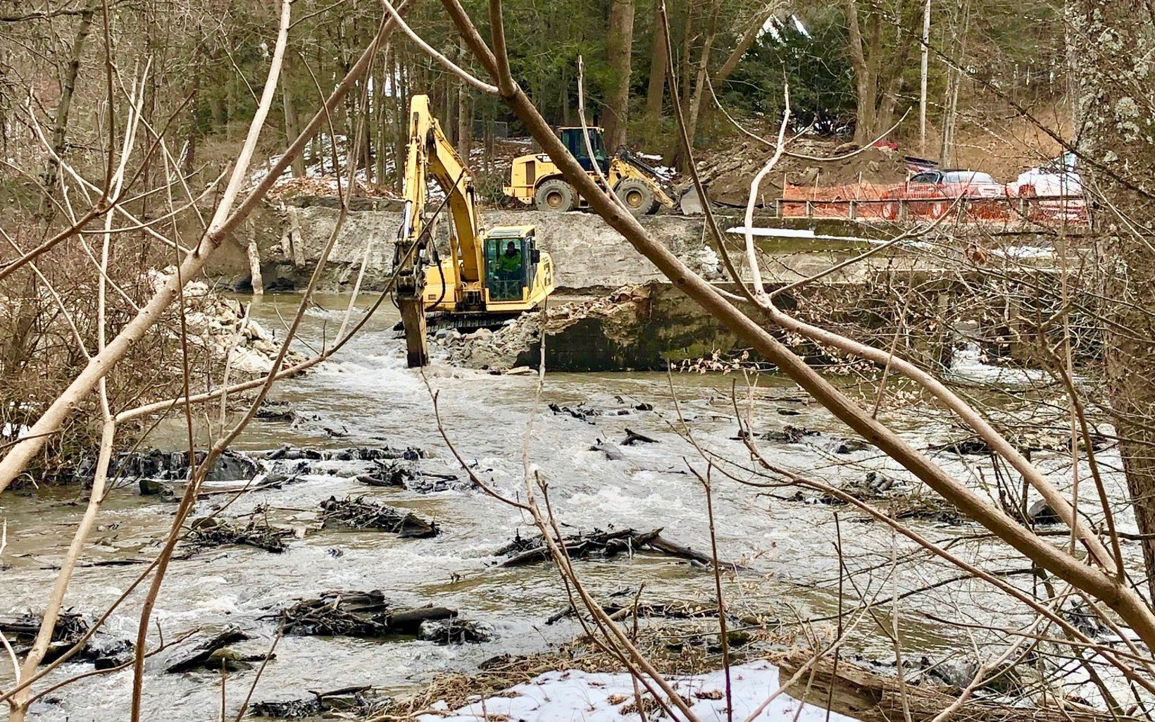 Looking upstream at progress being made on the removal of the Old Papermill Dam.