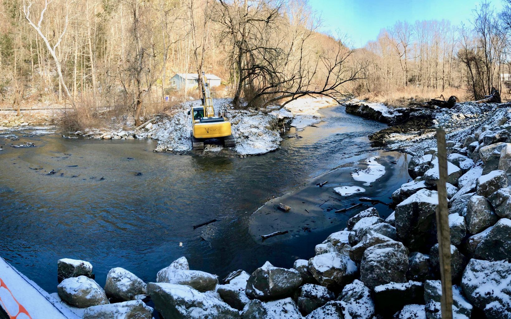 With removal nearly complete, work begins on stream banks and habitat features.