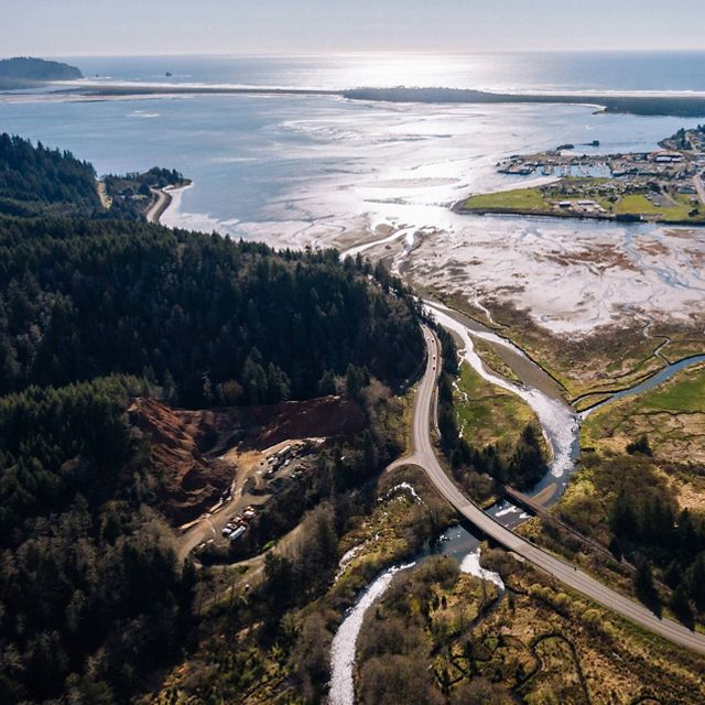 Overview of coast and estuary in Tillamook, OR
