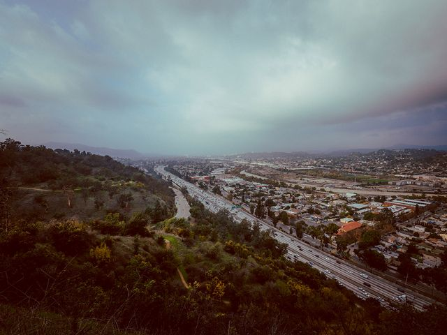 A view of a Los Angeles freeway overpass.