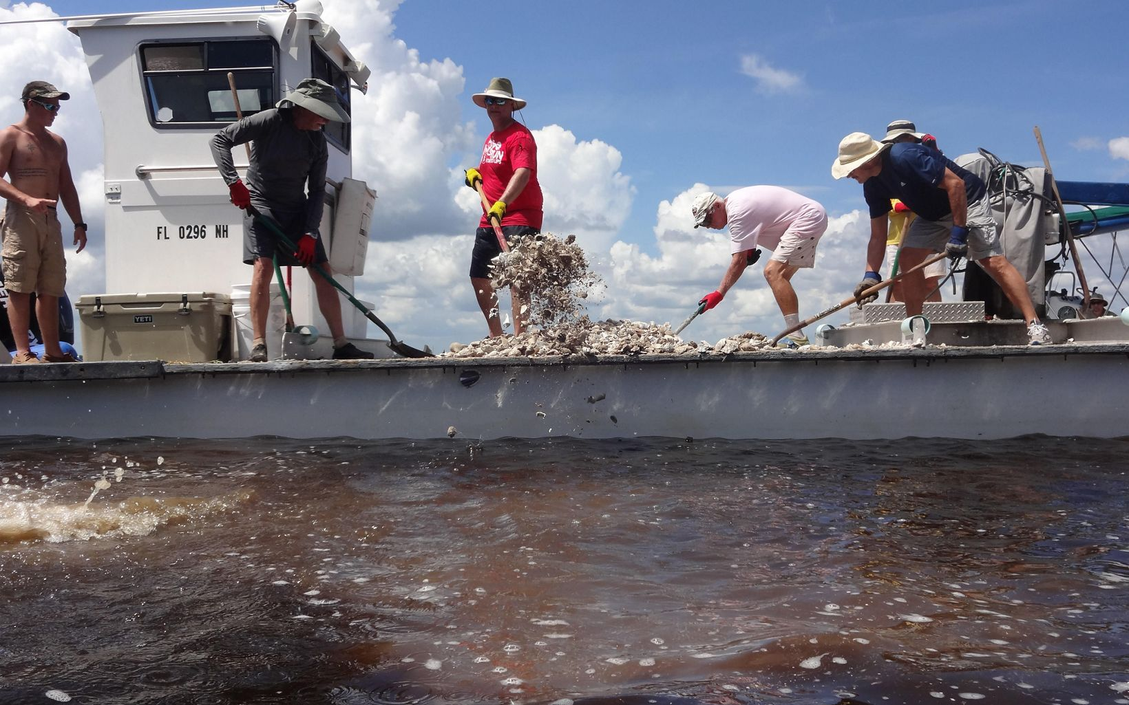 Barge aids in oyster reef restoration