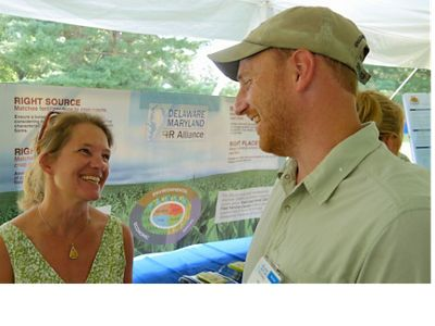 TNC's Amy Jacobs and Keiller Kyle at the 4R Technology Field Day on August 15, 2018 at the Wye Research and Education Center in Queenstown, Maryland.