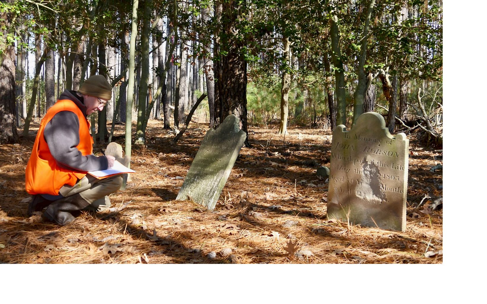 Not wanting to see this site completely lost to history, Joe Fehrer collects data about the cemetery for the Maryland Historical Trust.