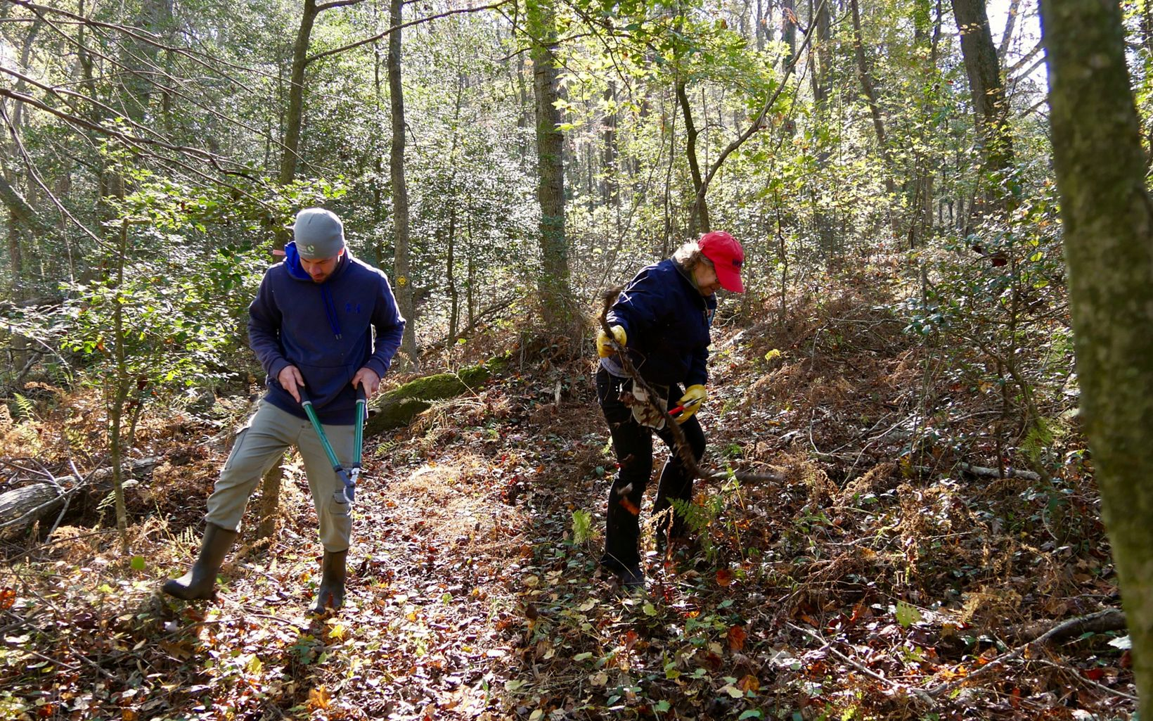 Members of the Nassawango Stewardship Committee work along a section of trail during a preserve workday.