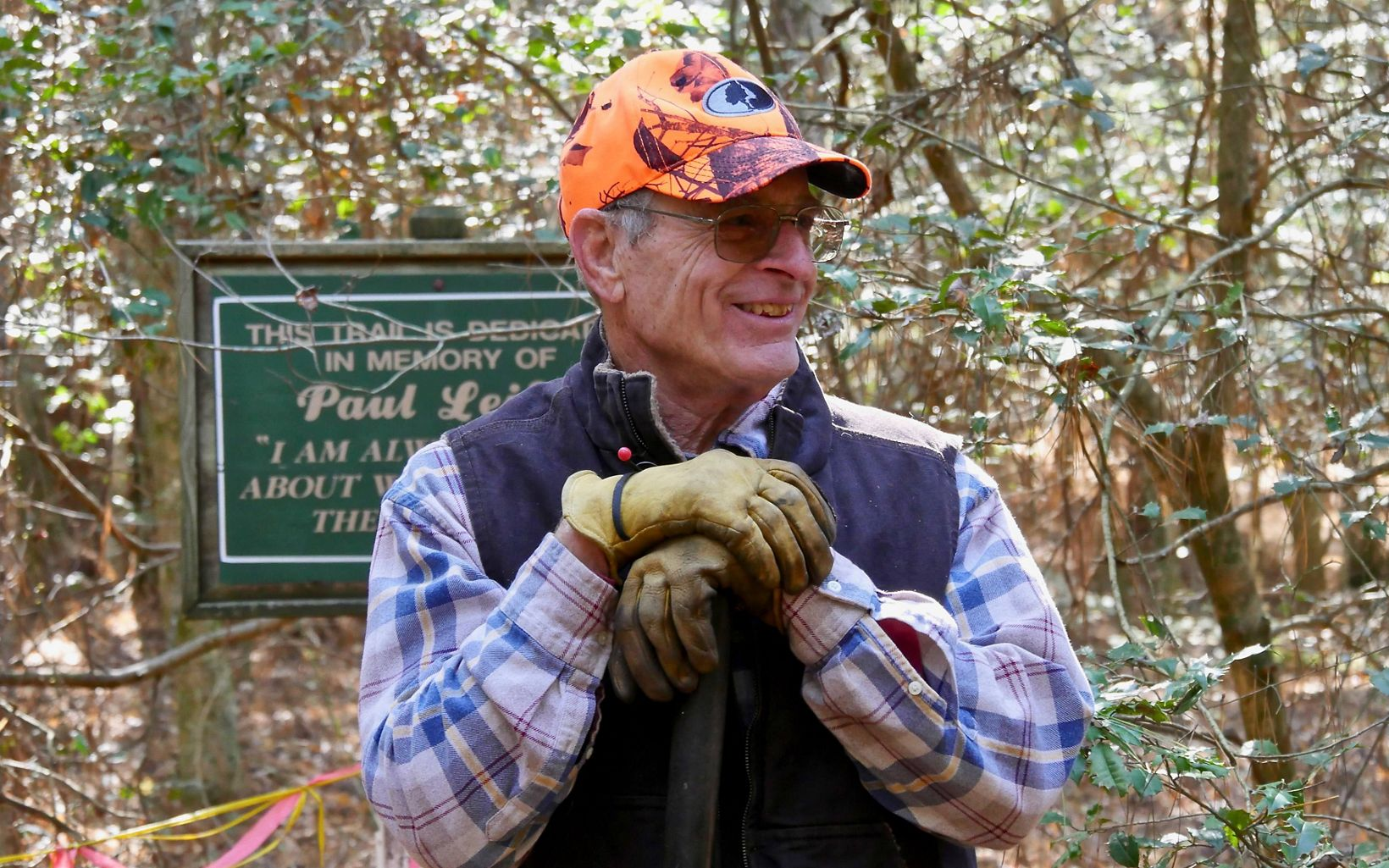 George Parker, Nassawango Stewardship Committee Chairman, on the Leifer Trail during a preserve workday.