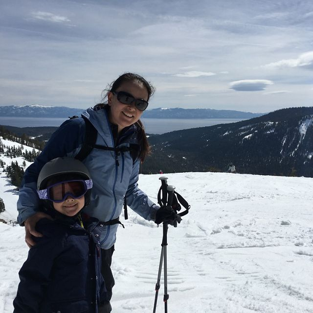 I love skiing the Alpine Ski Resort with my 7-year old son, Tai, who can frequently be seen at the bottom of the slopes waiting for me to catch up.