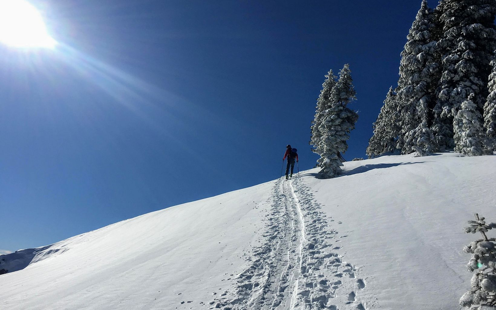 My wife and I enjoy backcountry skiing. There are lots of good places to go near Tahoe, but this photo was taken near Grouse Rock on the west shore.