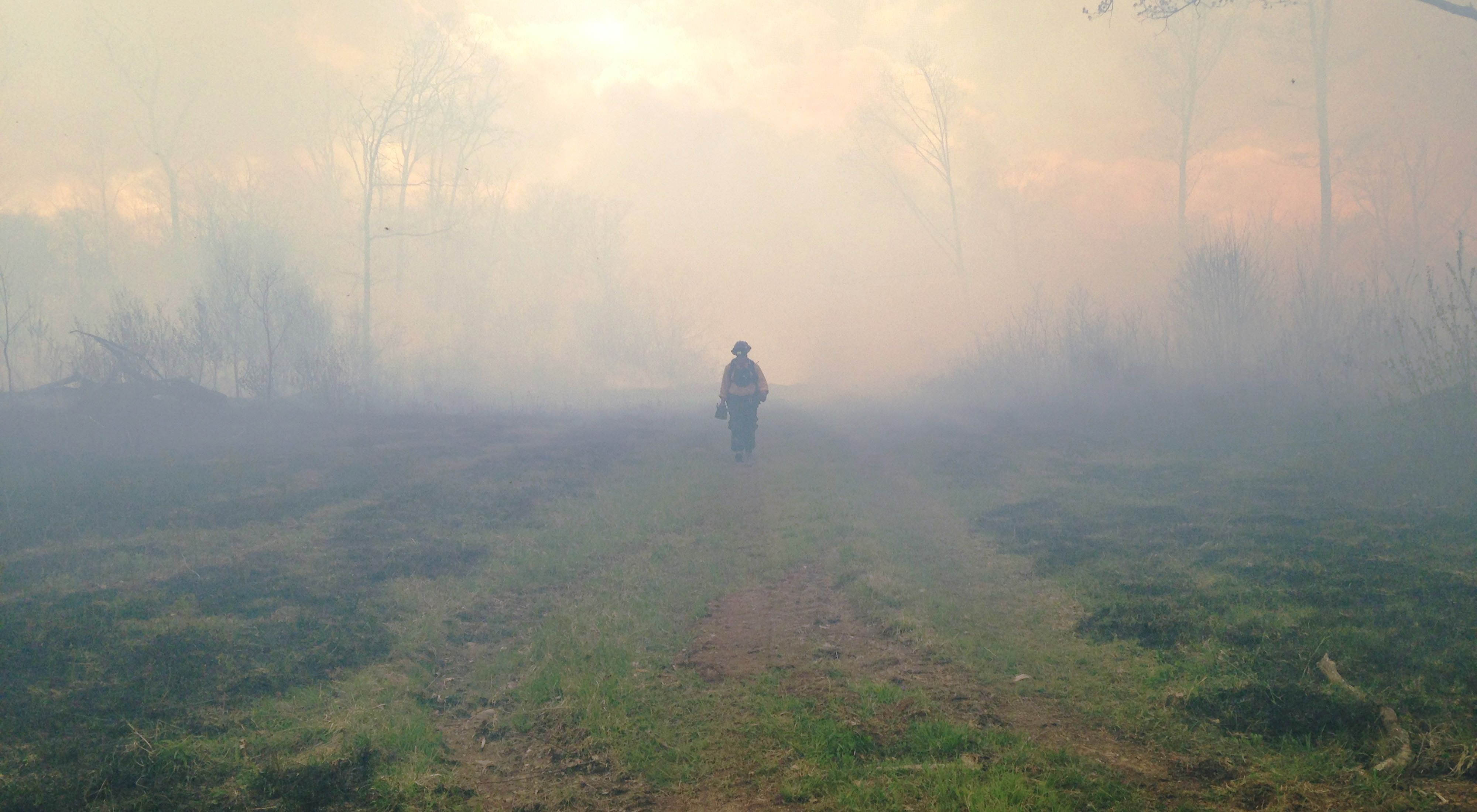 A Conservancy Fire Team member on the front lines of a burn.
