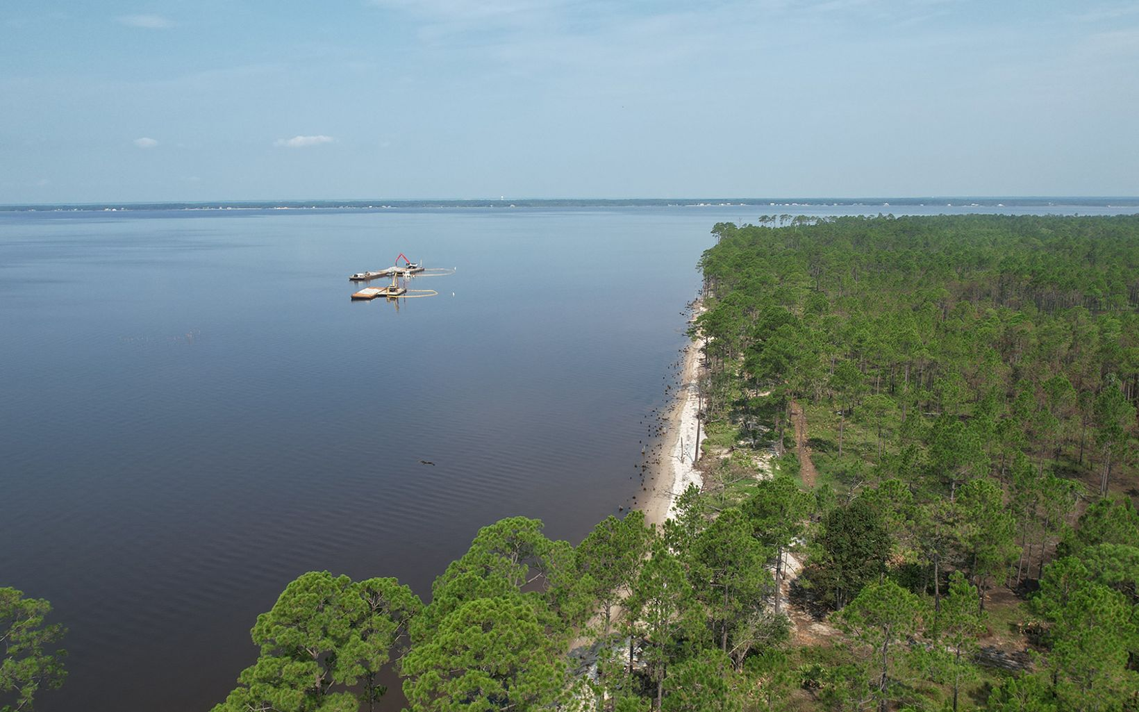 Aerial view of oyster reef under construction.