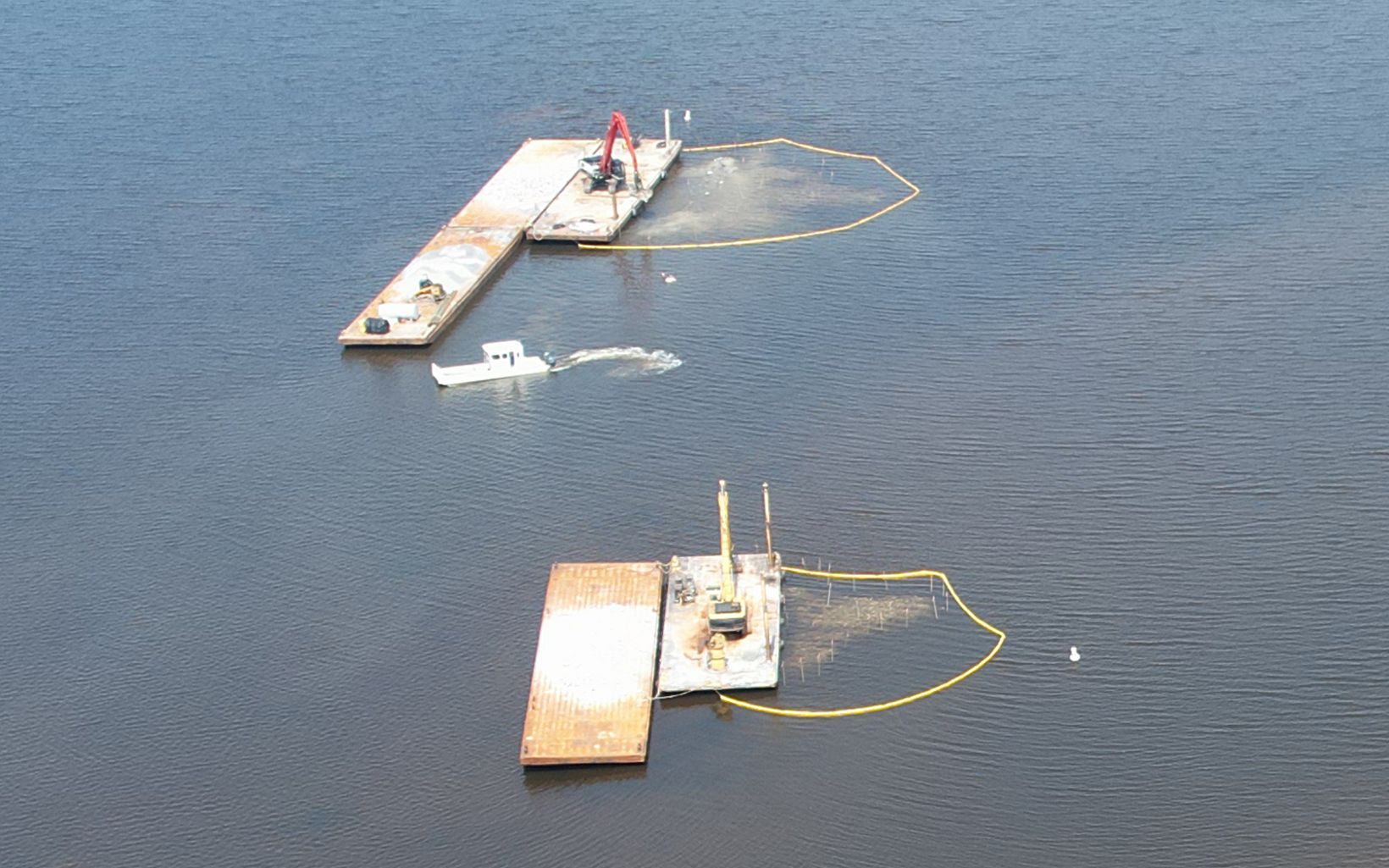 Aerial view of two oyster reefs under construction.