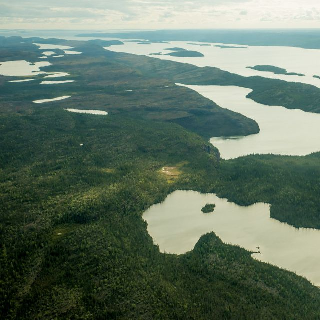 Aerial of ponds and lakes formed by Canadian Shield rock in the region of Thaidene Nëné in Canada's Northwest Territories.