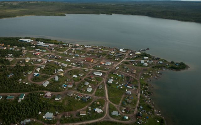 aerial of the first nation community of lutsel ke, butting out onto peninsula of great slave lake in northwest territories