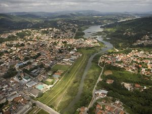 The reservoir is part of the Cantareira system which provides fifty percent of Sao Paulo's drinking water.