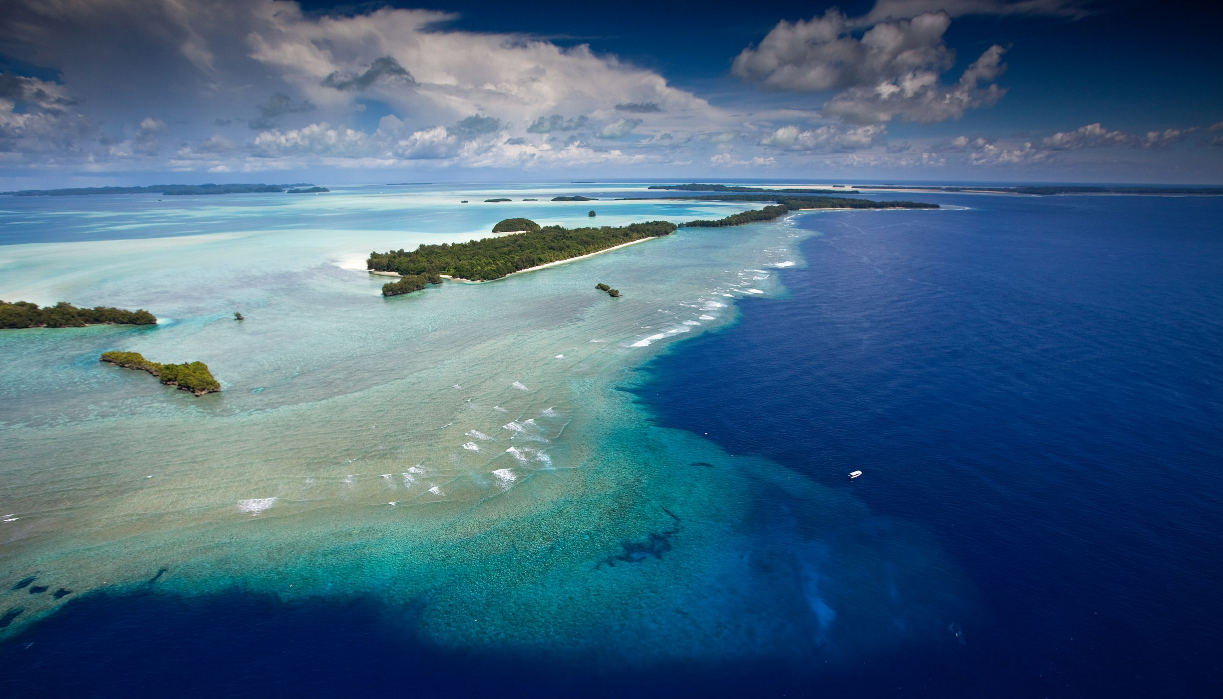 "of the area known as the ""blue corner"" and Rock Islands coral seascape at the Republic of Palau."