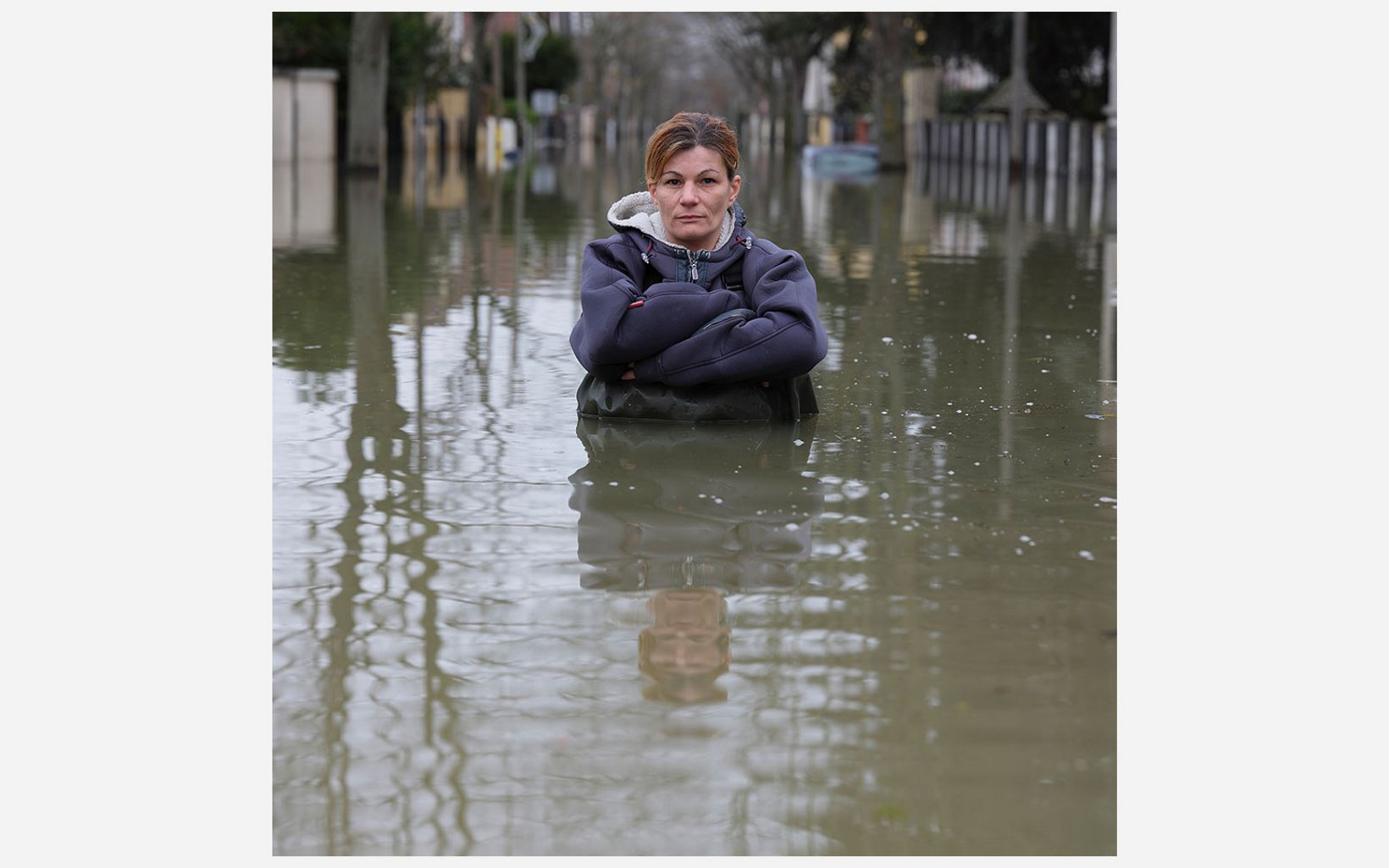 Severine Leboeuf stands in water deeper than her waist at Rue de Belle Place