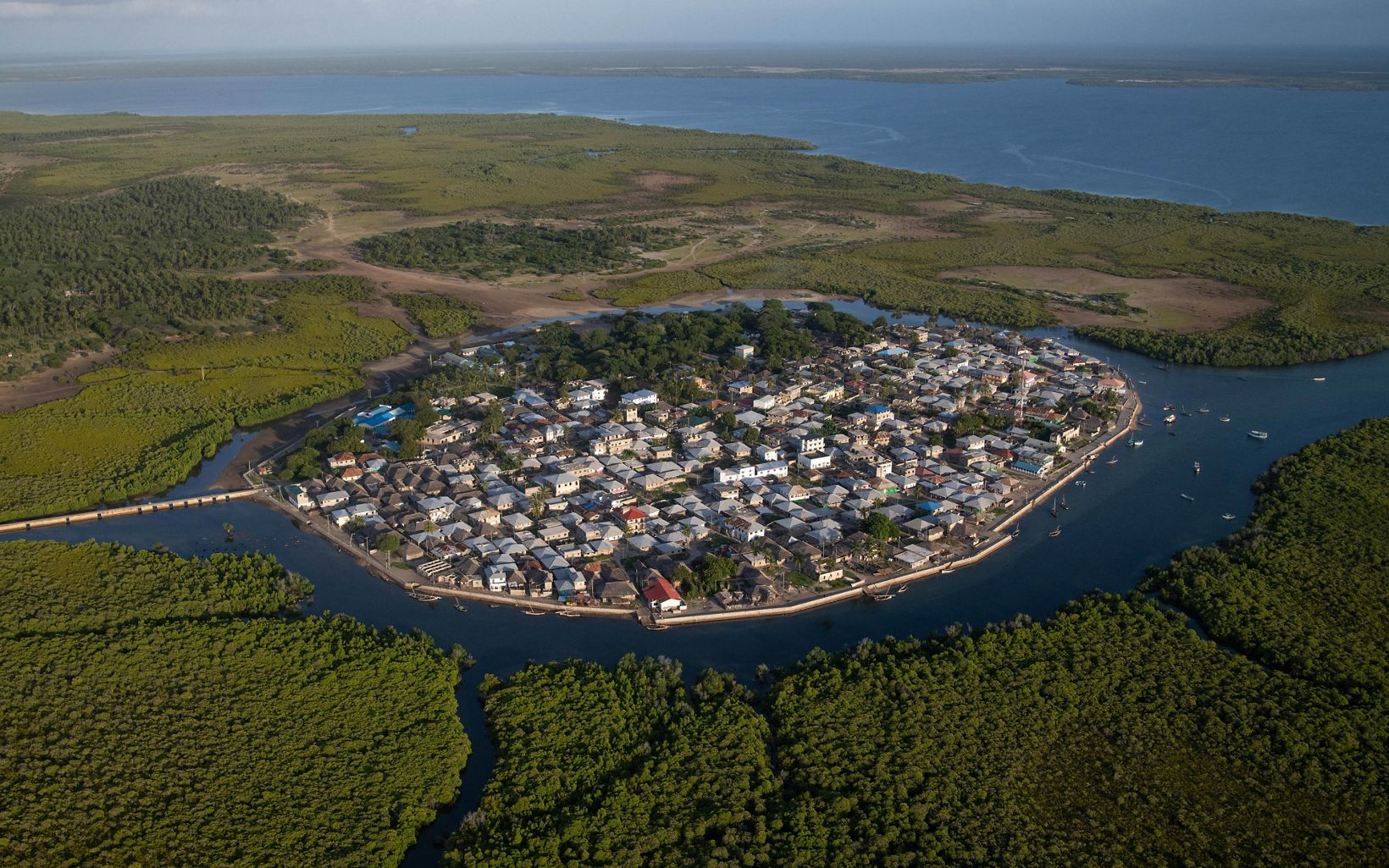 An aerial view of one of the villages on Pate Island, Lamu County, Kenya.