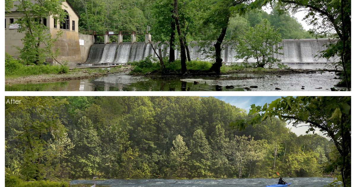 A before shot and an after rendering of the removal of the Columbia Dam in New Jersey.