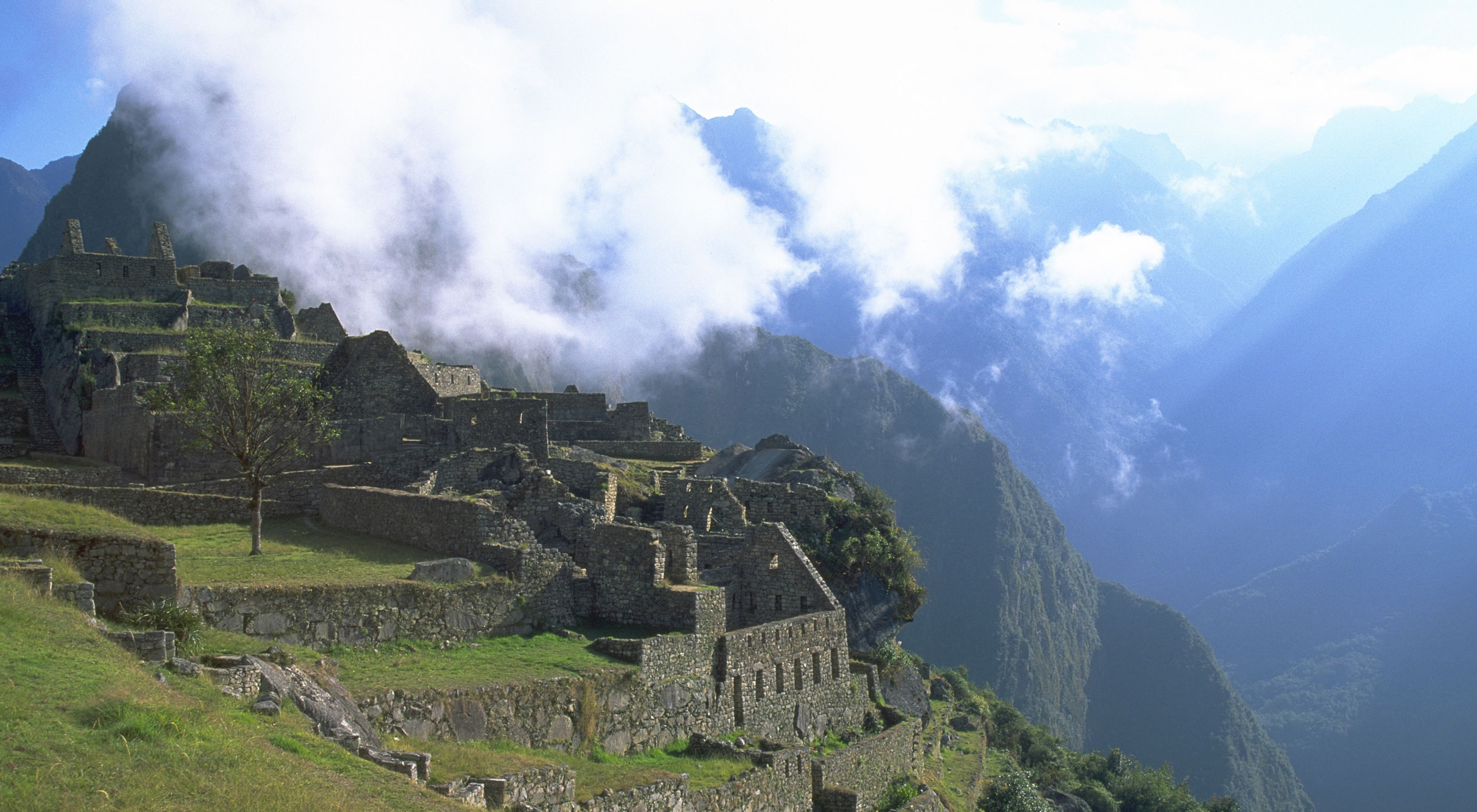 A view of the ancient Incan city of Machu Picchu with