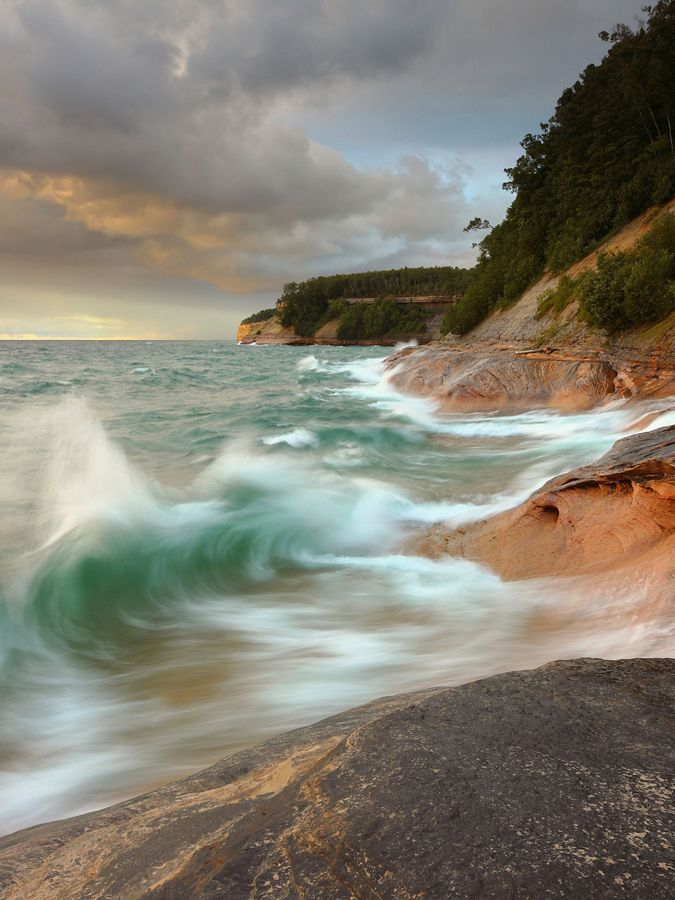 Waves hitting the rocky coast of Pictured Rocks, MI