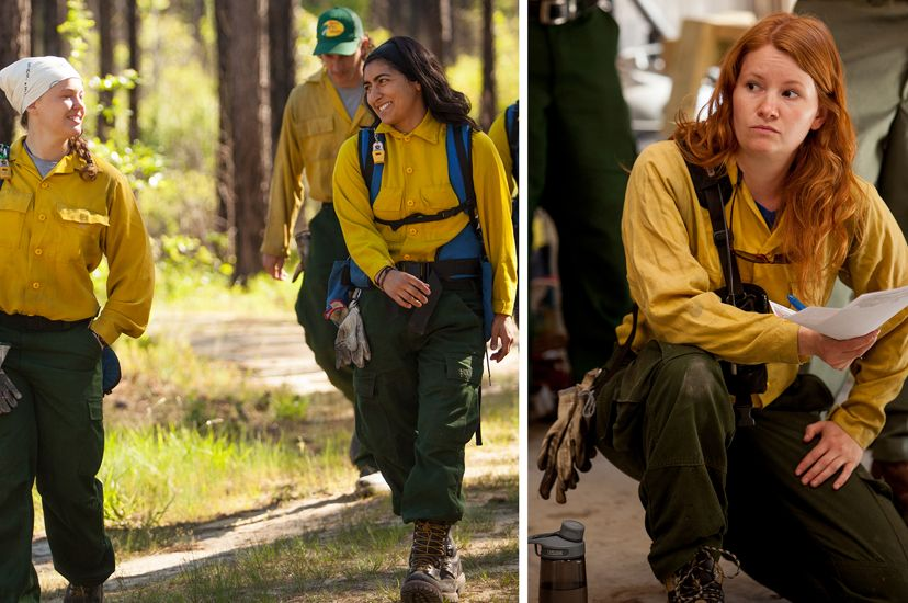 Two photos combined to create a single image showing women participating in a controlled burn, walking together through a forest and listening during a morning briefing.