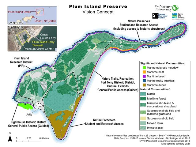 A graphic map of the concept map of Plum Island, showing future areas of natural restoration.