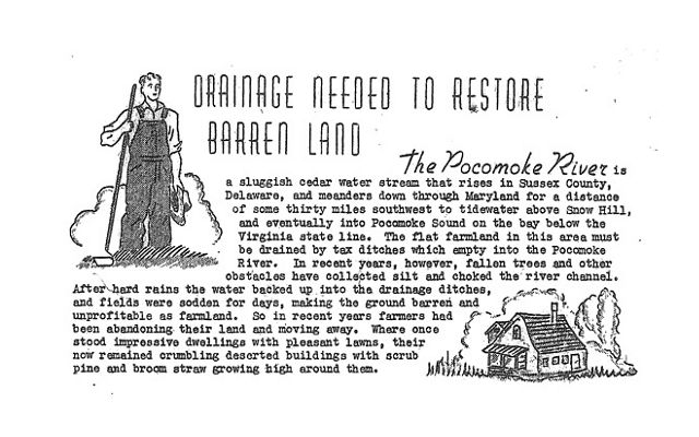 Excerpt from a 1946 announcement explaining the initial rationale for channelizing the Pocomoke River.