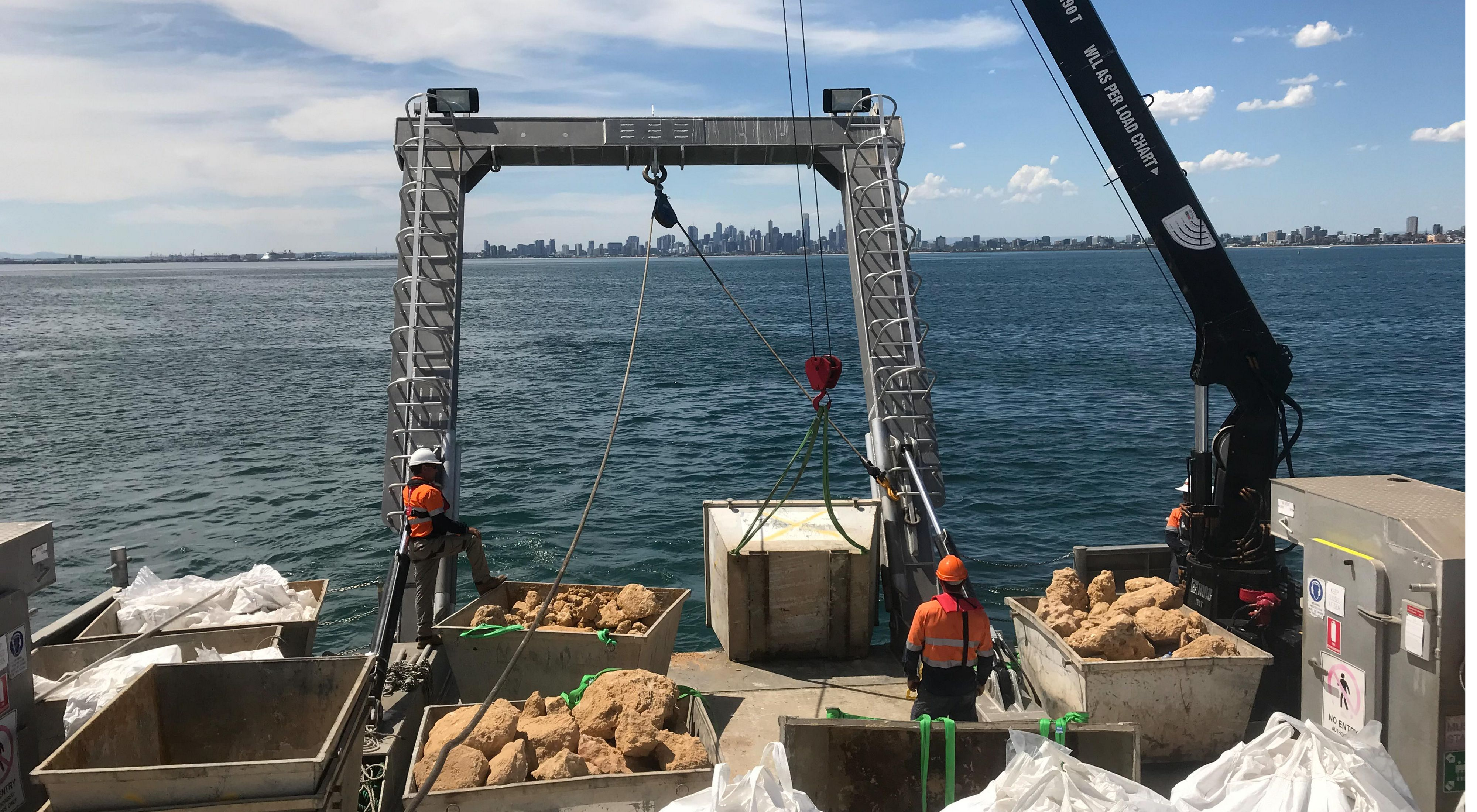 Building new shellfish reefs in Australia.