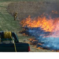 A volunteer starts a prescribed fire at Nachusa.