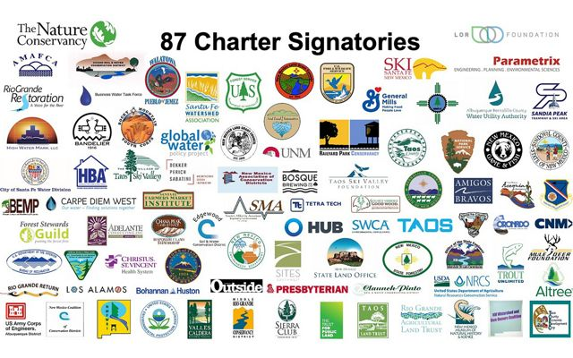 Graphic collage of 87 logos--all signatories for the Rio Grande Water Fund.