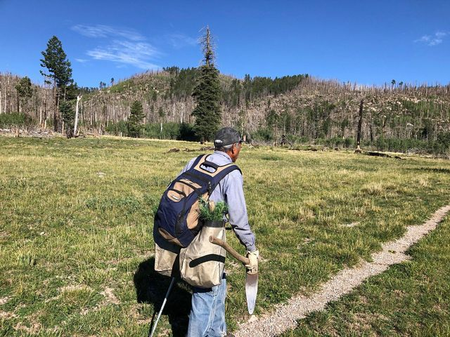 Man in backpack hikes on trail next to mountain range.