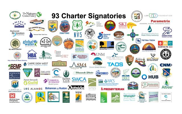 Graphic collage of 93 logos--all signatories for the Rio Grande Water Fund.