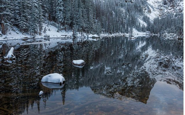 Snow-covered trees with reflection of Hallet Peak during an early season snowfall in Rocky Mountain National Park. Part of The Nature Conservancy's 2018 Photo Contest.