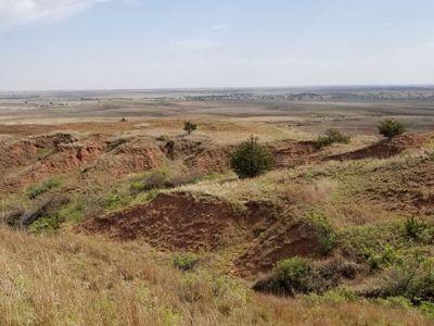 Landscape of uneven red soil