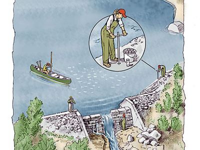 A color pencil illustration shows a dam being surveyed to plan its removal