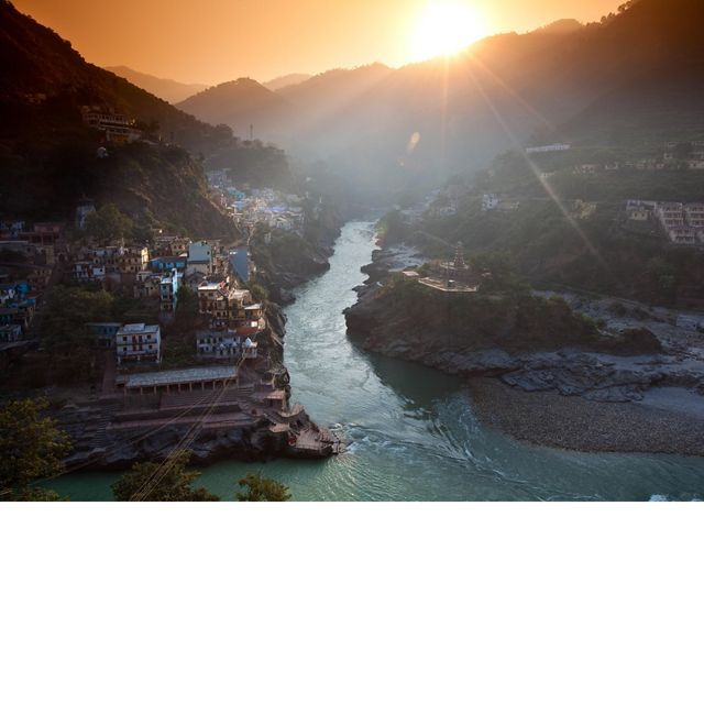 The official start of the Ganges River where two other rivers, the Bhagirathi and Alaknanda, converge.