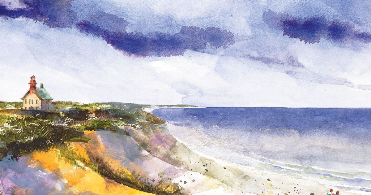 Rhode Island lighthouse in watercolor by Stan Fellows