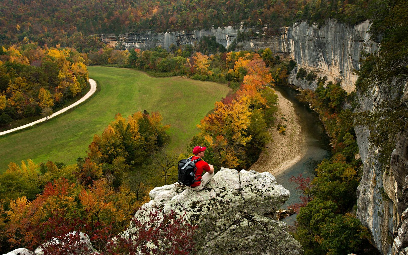 Hikers can overlook the Buffalo River at Roark Bluff and take in the rugged natural beauty.