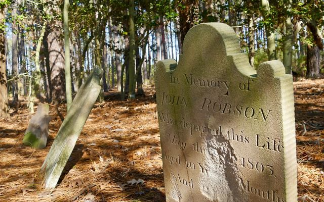 It's expected that most of Robinson Neck Preserve will be lost to sea level rise, including the land on which this historic cemetery plot rests.