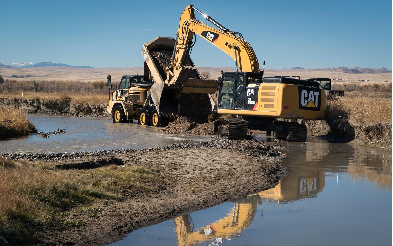 Heavy equipment was used to raise the level of the Ruby River's deeply incised channel.