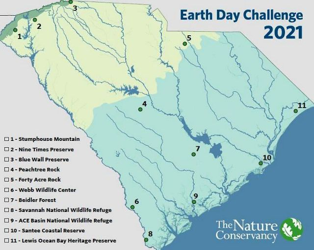 Map of 11 SC preserves: Stumphouse Mountain, Nine Times, Blue Wall, Peachtree Rock, Forty Acre Rock, Webb Wildlife Center, Beidler Forest, Savannah NWR, Santee Reserve, Lewis Ocean Bay Heritage.