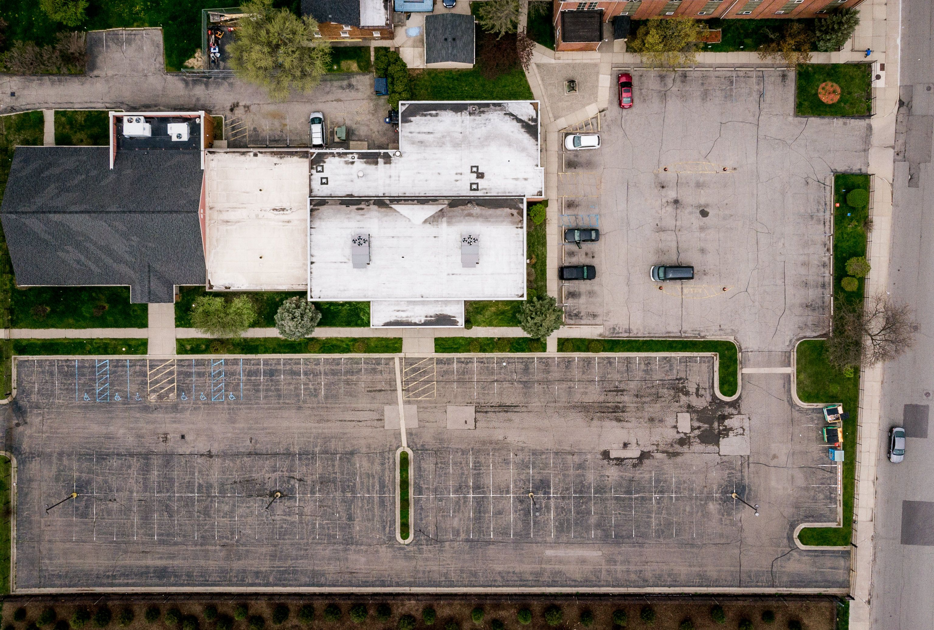 Aerial of the Sacred Heart Church parking lot before installation of GSI features.