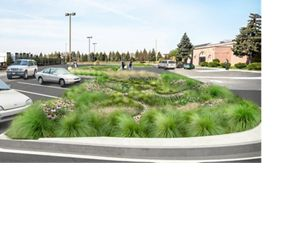 Incorporating green stormwater infrastructure into Sacred Heart's parking lot will help capture and slow rainwater runoff and reduce the church's stormwater utility bill.