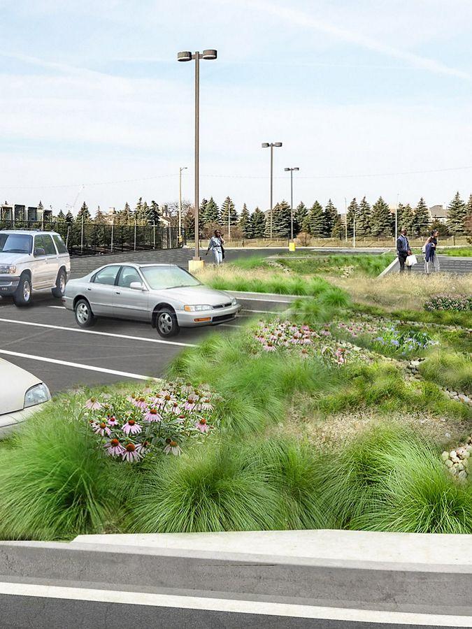 Rendering of green infrastructure parking lot